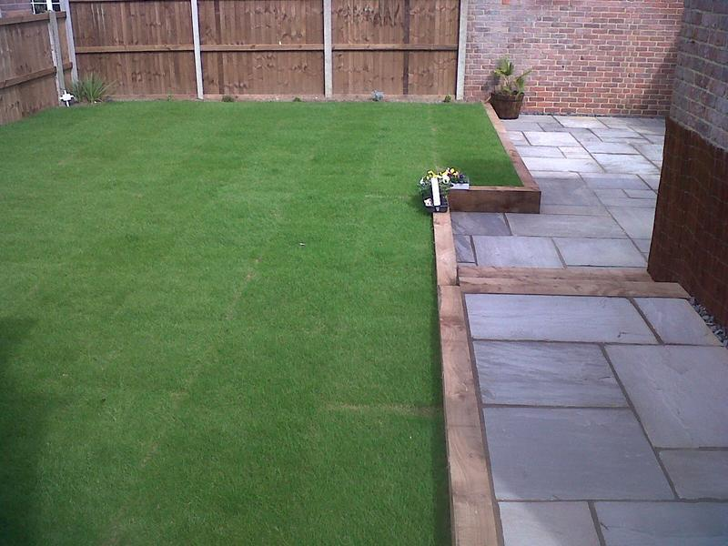 Image 8 - New Lawn & patio with railway sleeper wall