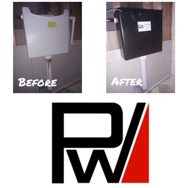 Image 2 - Replacing a damaged, and leaking concealed cistern with a Viva Skylo dual-flush concealed cistern.