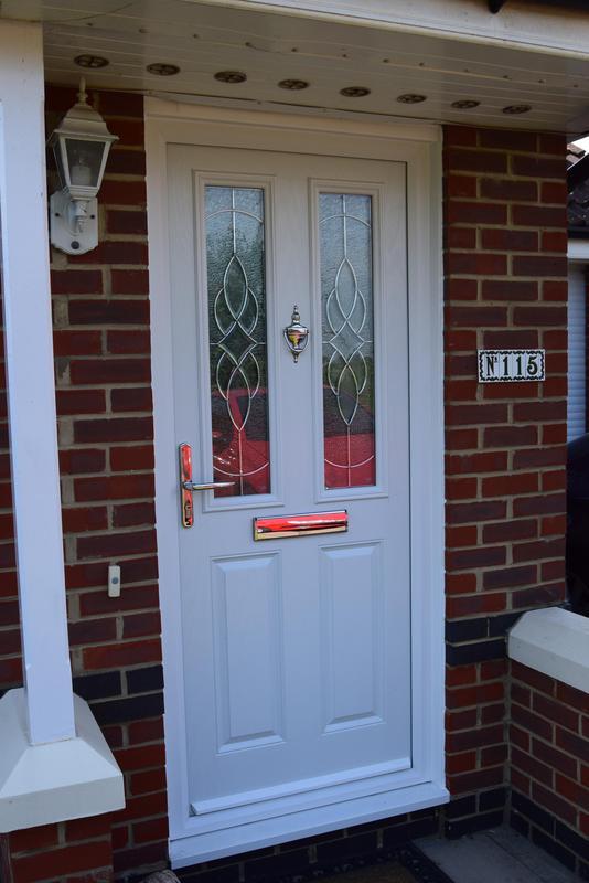 Image 36 - White Composite 4 Door with Platinum Elegance glass