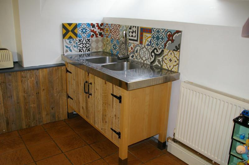 Image 45 - Kitchen refresh using reclaimed pallet wood for the doors and encaustic tiles for the splash back by DKM Developments Ltd, builders, Great Dunmow, Essex.
