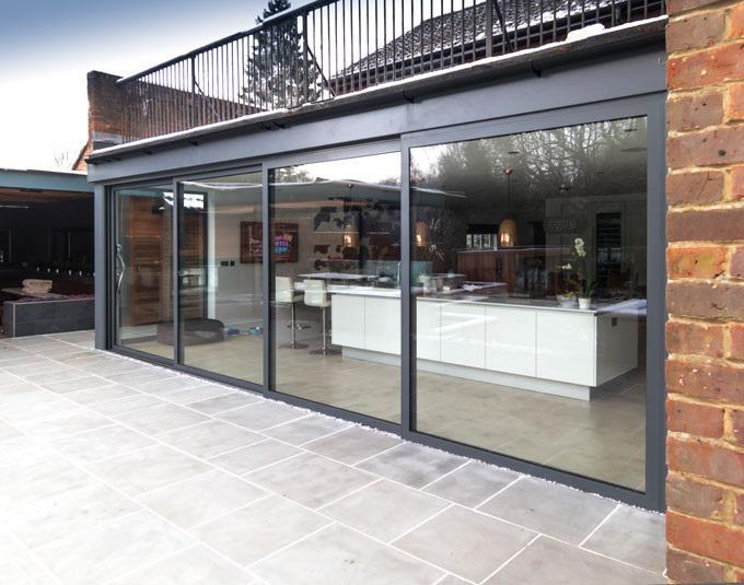 Image 107 - Leigh-on-Sea- grey 4-pane-Visoglide patio doors