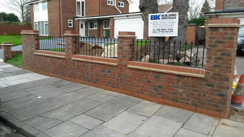 Image 6 - Decorative front wall with arrowhead railings and creasing tiles - after