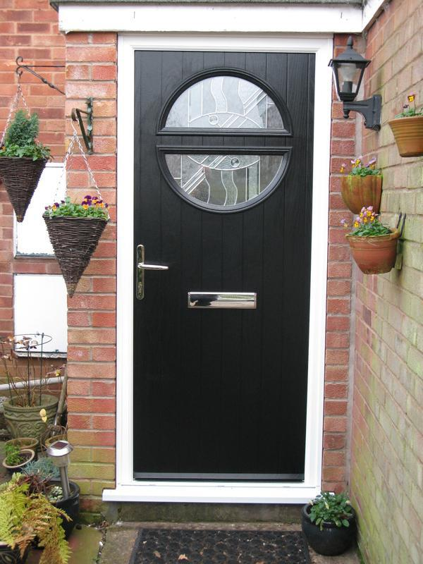 Image 35 - Circle style black grp skin Composite Door install in Dunchurch