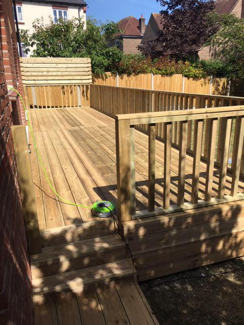 Image 91 - New decking with hand rail and recessed steps, Charlton Down, Dorchester