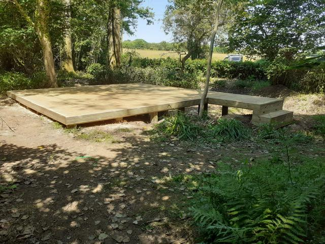 Image 69 - New raised decking in preparation to receive lake garden building, Ansty