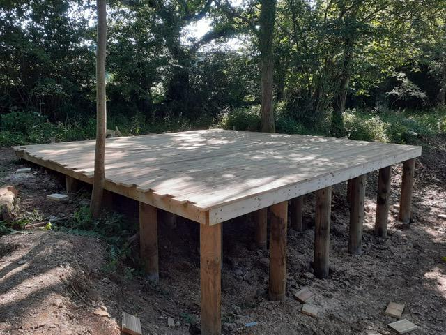 Image 70 - New raised decking in preparation to receive lake garden building, Ansty