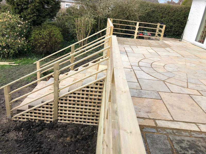 Image 94 - New patio and decking with steps and hand rail, Sturminster Newton