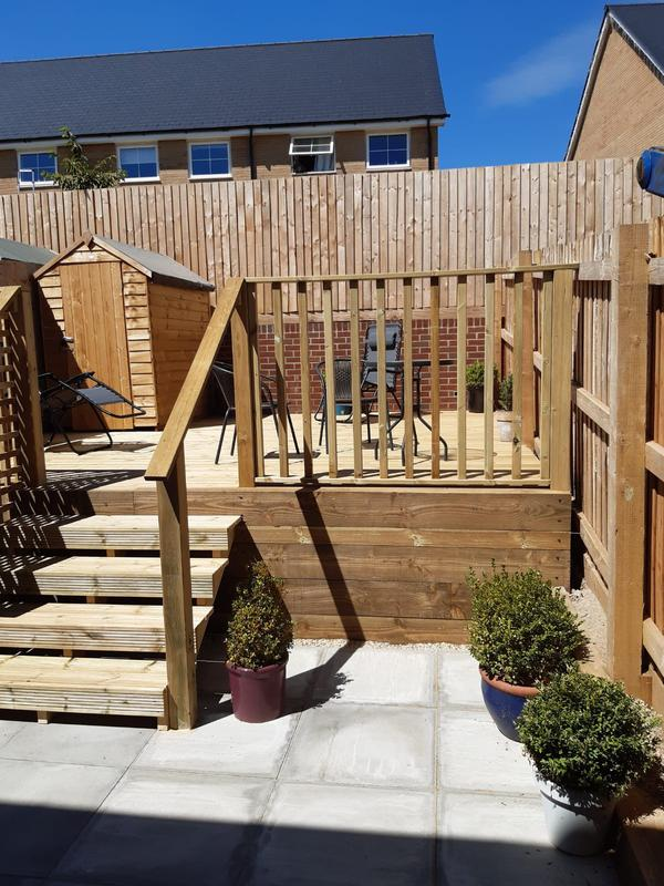 Image 180 - New decking area with steps and hand rail, Yeovil