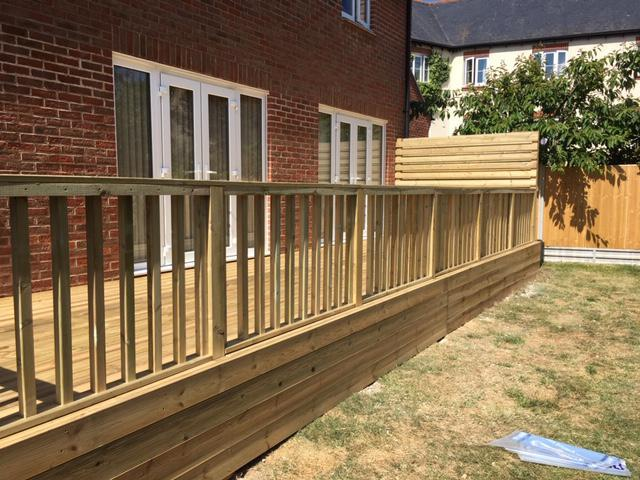Image 90 - New decking with hand rail and recessed steps, Charlton Down, Dorchester
