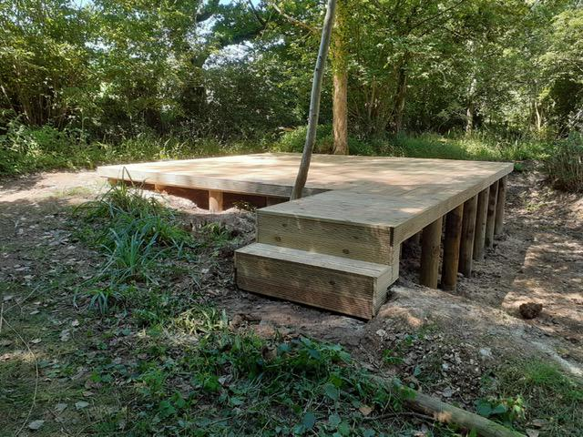 Image 71 - New raised decking in preparation to receive lake garden building, Ansty
