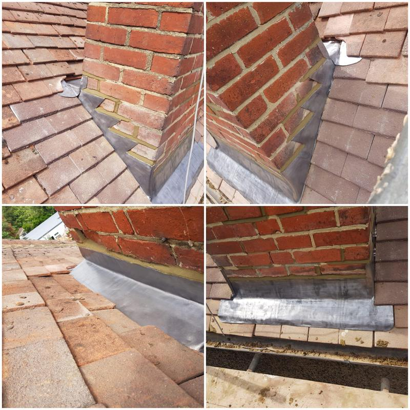 Image 6 - New lead flashings with a 10 year insurance backed Guarantee. Roof repairs Woking, Roof repairs Guildford.