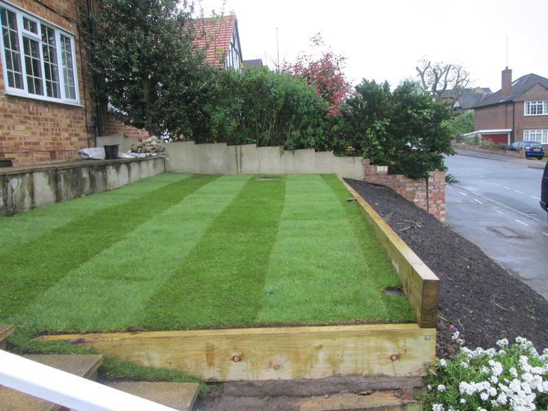 Image 48 - New turf and sleeper retain wall