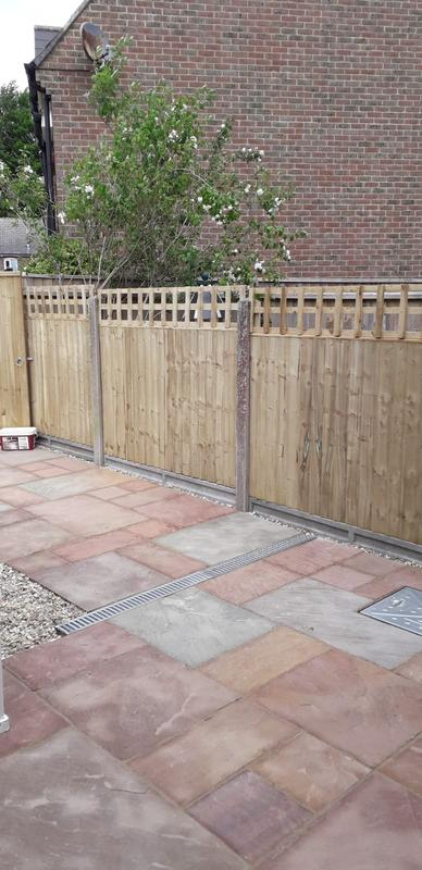 Image 76 - New patio with closeboard panel fencing, Dorchester