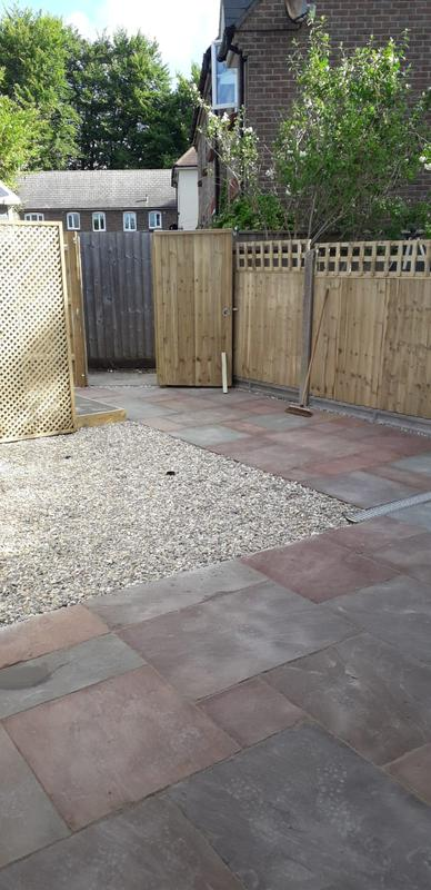 Image 77 - New patio with shingle area, closeboard panel fencing with gate to match, Dorchester