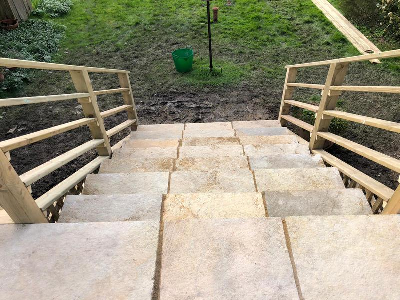 Image 96 - New paving slabs and hand rail, Sturminster Newton