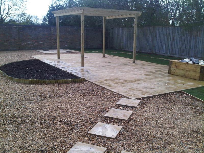Image 22 - New paving, gravel, flower beds and a hand built pergula