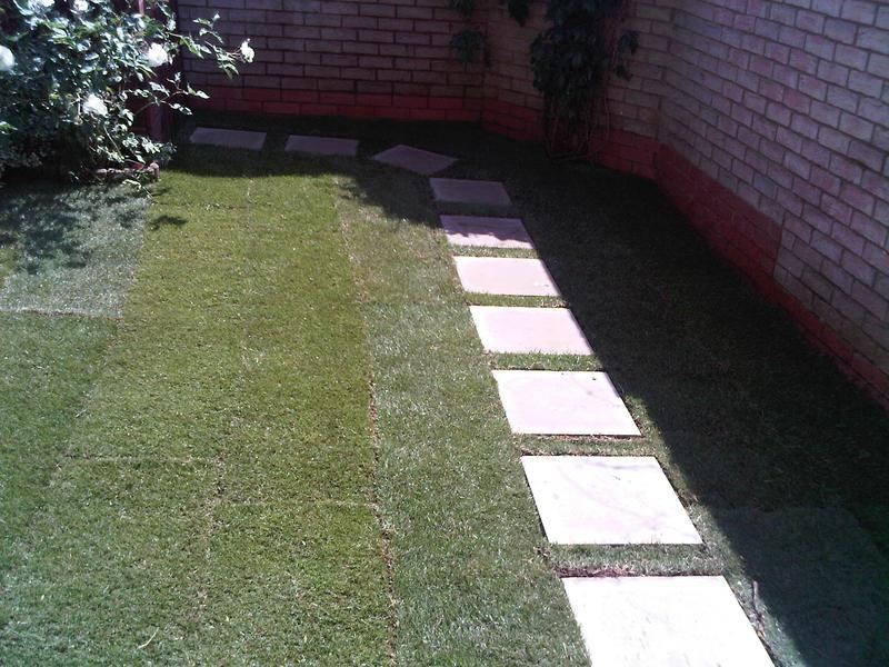 Image 20 - New turf and stepping stone slabs