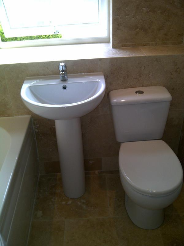 Image 78 - travetine stone bathroom with trimless 45 degree cuts - East Hunsbury