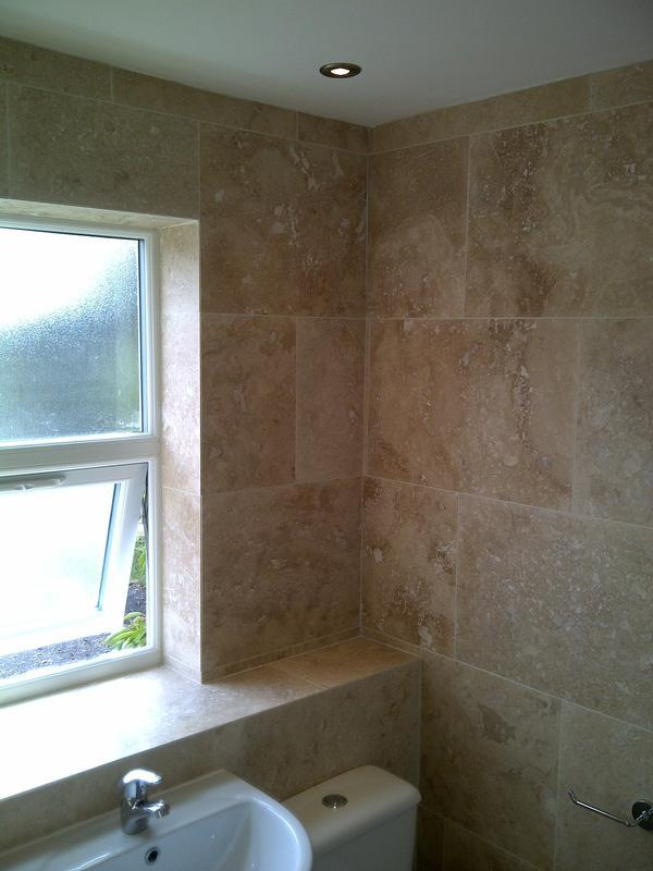 Image 77 - travetine stone bathroom with trimless 45 degree tile cuts - East Hunsbury
