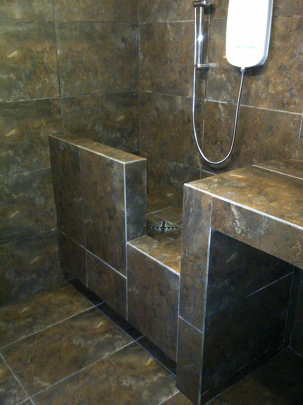 Image 234 - dog shower room with trimless 45 degree tile cuts- Daventry