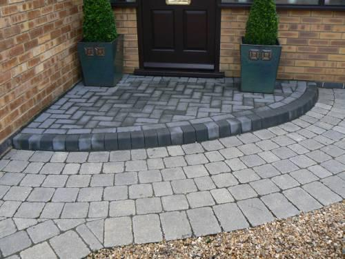 Image 3 - Tegula paving with key kerb and charcoal step