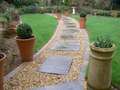Image 5 - Brindle block paved edging with Bradstone random stepping stones and gravel