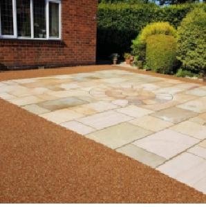 Image 29 - Indian sand stone patio inset in the resin.