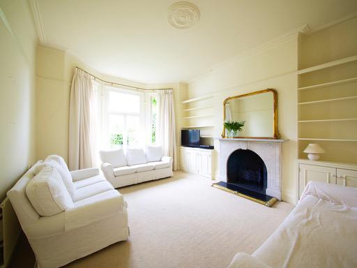 Image 92 - Light & Airy Lounge in Beckenham. F&B 'White Tie, on walls & ceilings - Colour-coding all woodwork & built in shelving.