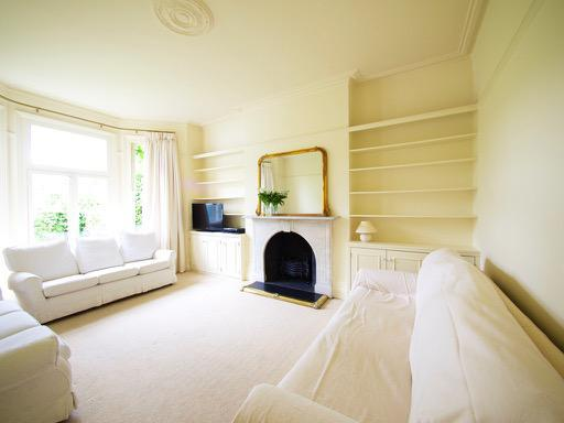 Image 93 - Light & Airy Lounge in Beckenham. F&B 'White Tie, on walls & ceilings - Colour-coding all woodwork & built in shelving.