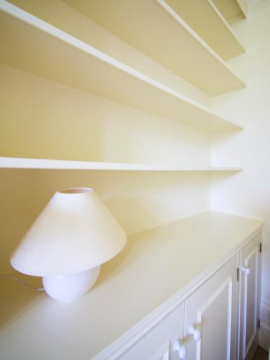 Image 196 - Light & Airy Lounge in Beckenham. F&B 'White Tie, on walls & ceilings - Colour-coding all woodwork & built in shelving.
