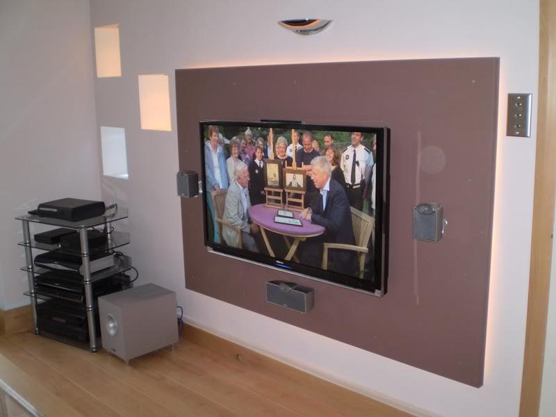 Image 20 - Tv installed onto false wall with cabling behind stud wall
