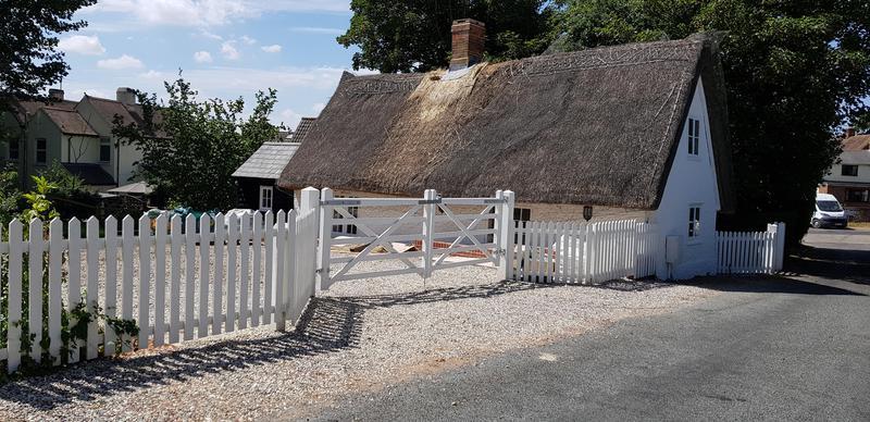 Image 1 - White Painted Palisade Fencing & Double Entrance Gates