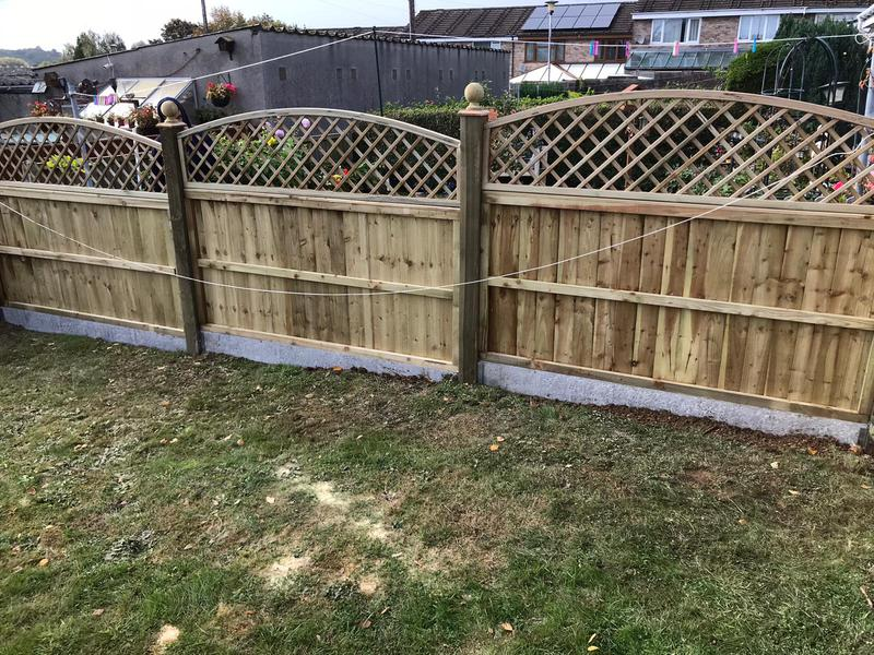 Image 14 - New panel fencing on concrete gravel boards, finished with domed diamond trellis and ball finials - Yeovil