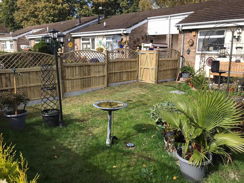 Image 13 - New panel fencing on concrete gravel boards, finished with domed diamond trellis and ball finials - Yeovil