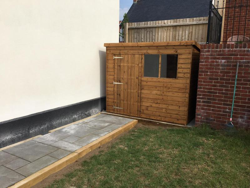 Image 74 - New pent shed installation with new pathway, Charminster