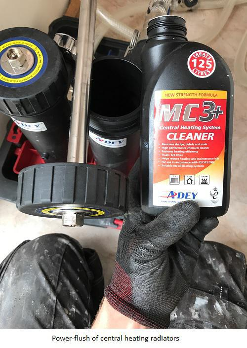 Image 15 - Powerflush of the central heating system. MC3 Chemicals to go in. (Notice the powerful magnets are clean before the power flush takes place)