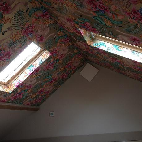 Image 2 - A designer wallpaper hung on a child's bedroom ceiling.Click to add a caption
