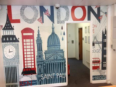 Image 1 - A wide vinyl mural of london completed on a Saturday morning to suit clients requirements.