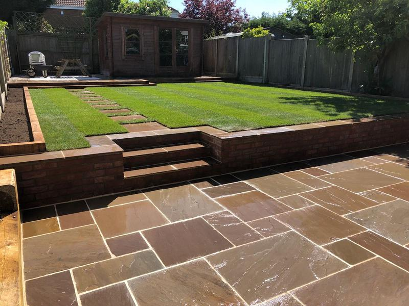 Image 55 - Retaining wall with Indian sandstone patio