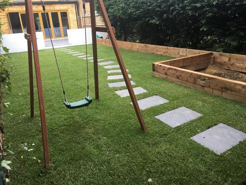 Image 29 - stepping paving stones, sleeper flower bed, childrens swing