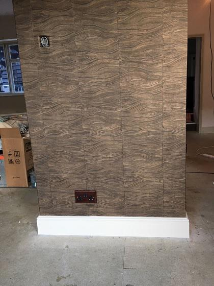Image 2 - Full wood effect wall coverings £180 a roll, little green oil based eggshell skirting.