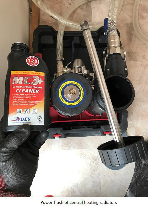 Image 16 - Powerflush and chemicals before the flush has commenced