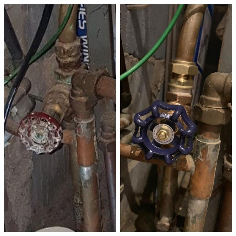 Image 31 - Before and after of a new gate valve installed on an old system
