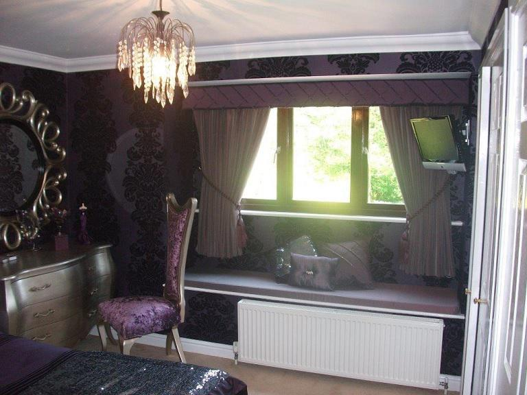 Image 4 - A bedroom that had wallpaper hung , this particular wallpaper had crystals applied by hand to main pattern.