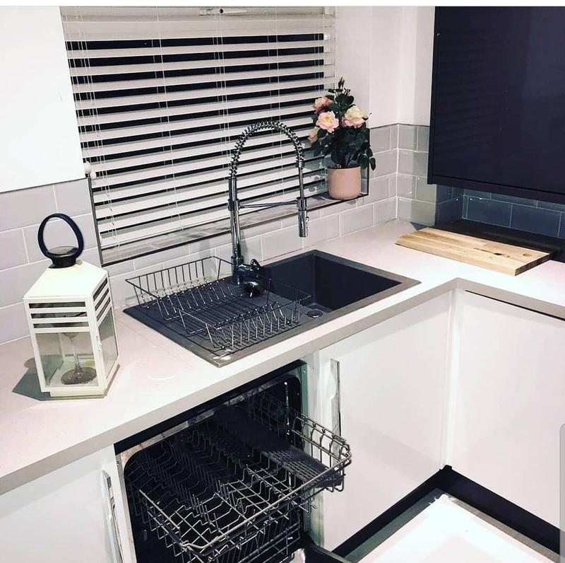 Image 3 - Anthracite grey , plastic and resin kitchen sink and drainer . Installed with vallamo flexispray mixer tap and integrated dishwasher.