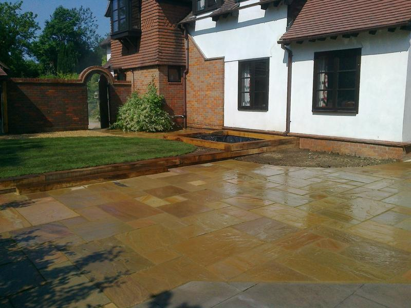 Image 22 - Indian Sandstone Patio with Shingle, Turf & Pond Feature in Knebworth
