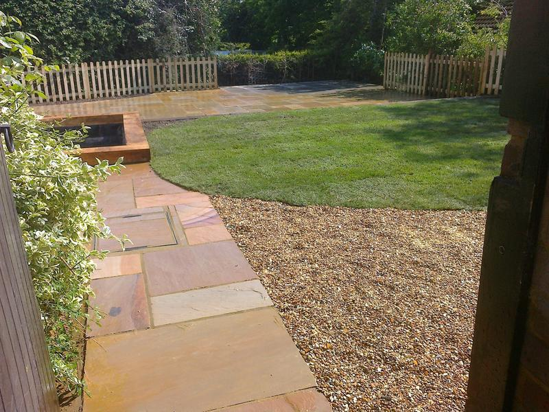 Image 23 - Indian Sandstone Patio with Shingle, Turf & Pond Feature in Knebworth
