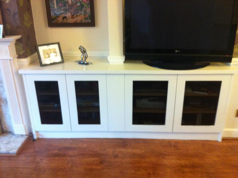 Image 92 - Painted MDF Media units with tinted glass