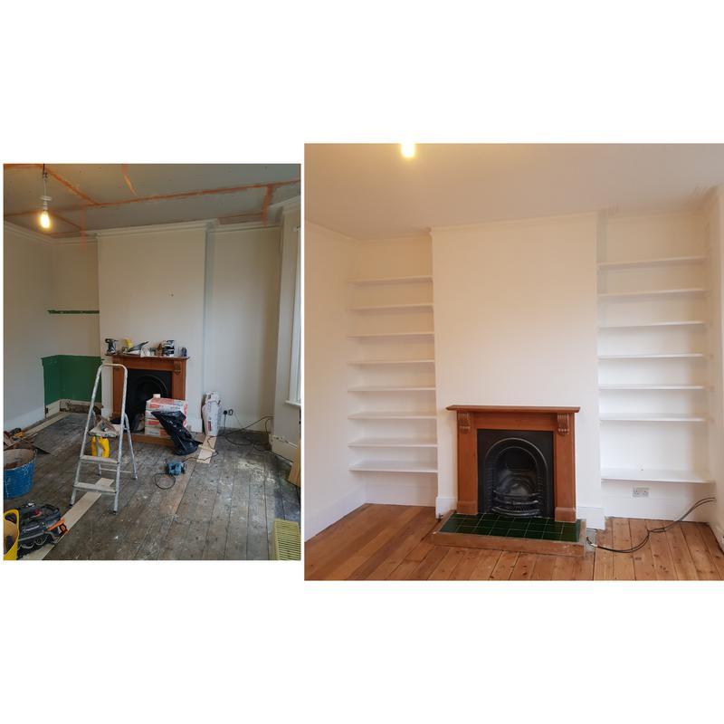 Image 81 - Bespoke shelving and laminate flooring installed.