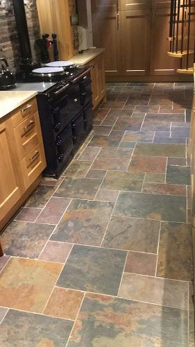 Image 189 - Slate floor in a modular pattern. Grey grout and sealed.